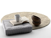 Bowls, Seat Pillow, Book, Cup and Rug