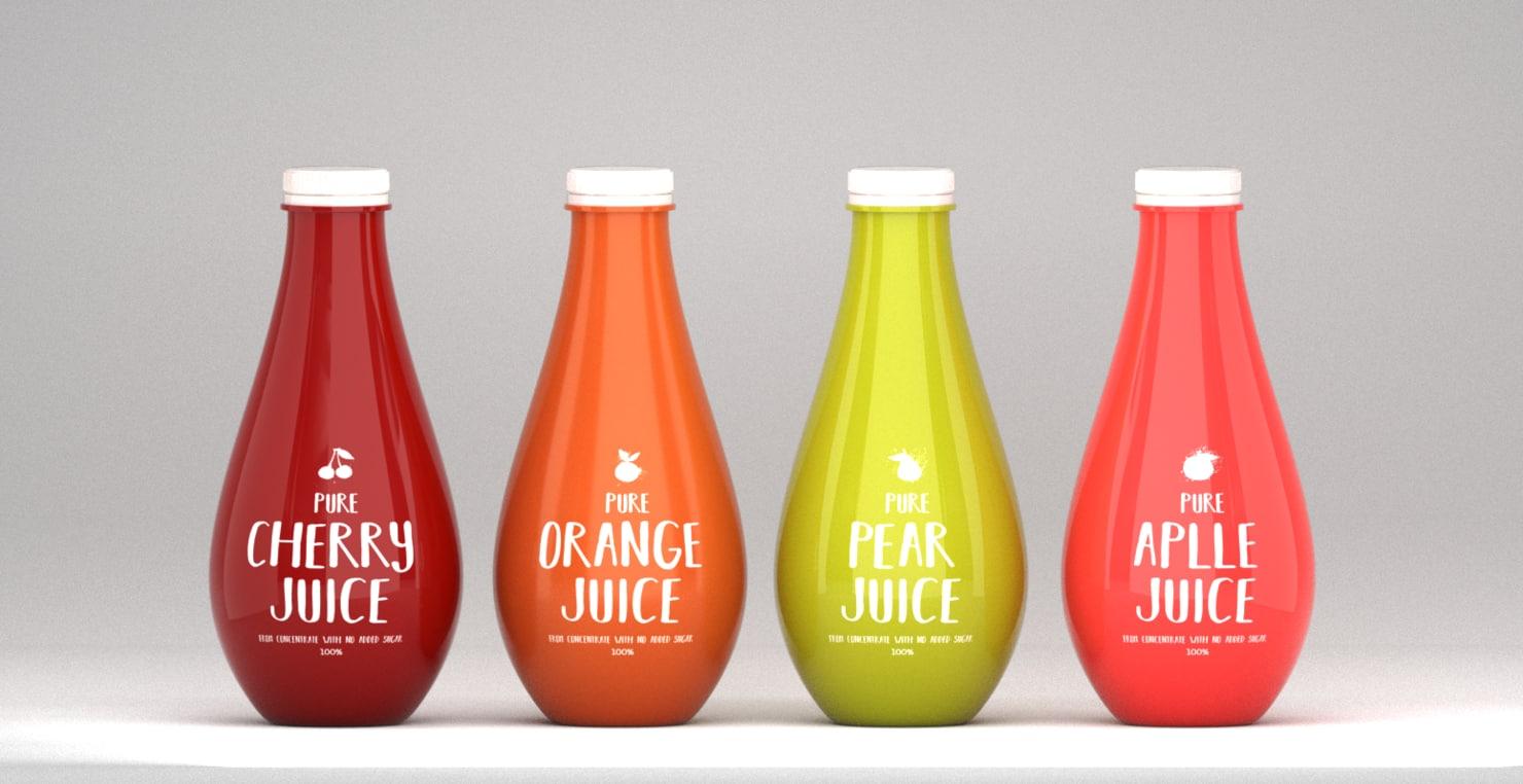 set fruit juices 3d model