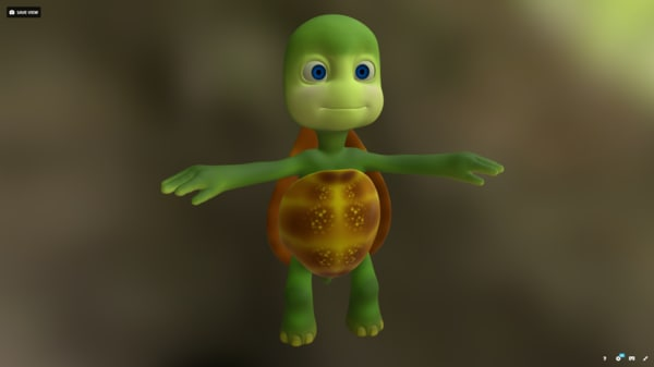 3d turtles cartoon model
