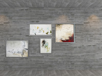 Set of 4 Paintings by Freja in aluminium frame