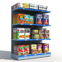 supermarket shelves cereals 3d model