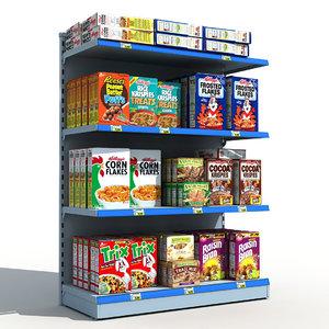 supermarket shelves cereals 3d model