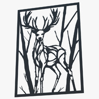 metal wall art deer obj