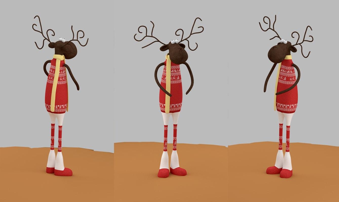 cartoon toy christmas deer 3d 3ds