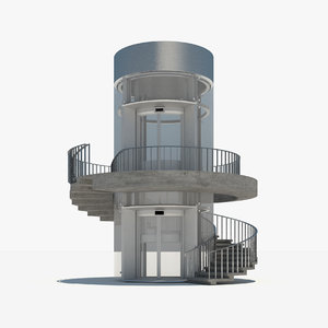 3d model of spiral staircase glass elevator