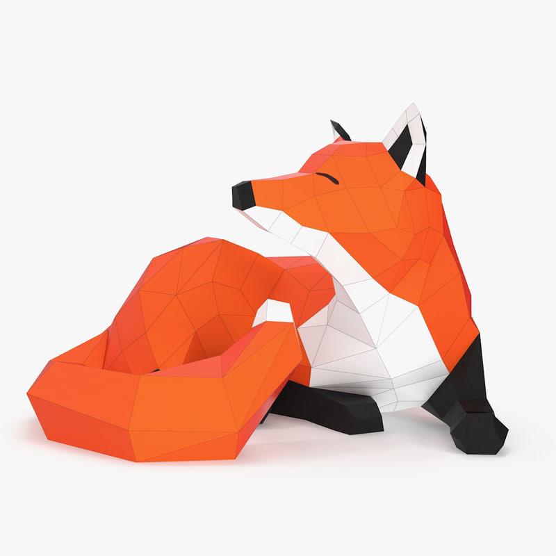 3d obj paper fox