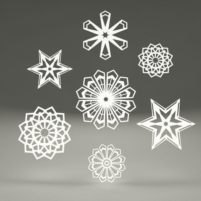 paper snowflakes 3d model