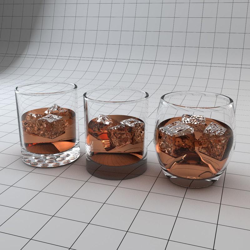 glass tumblers 3d c4d