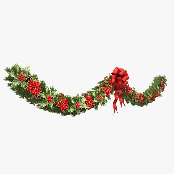 christmas wreath v4 3d model