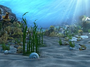 underwater world animation 3d max