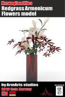 3d model lilies red vase