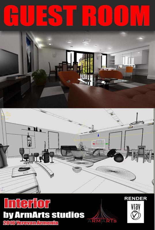 guest room interior 3d model