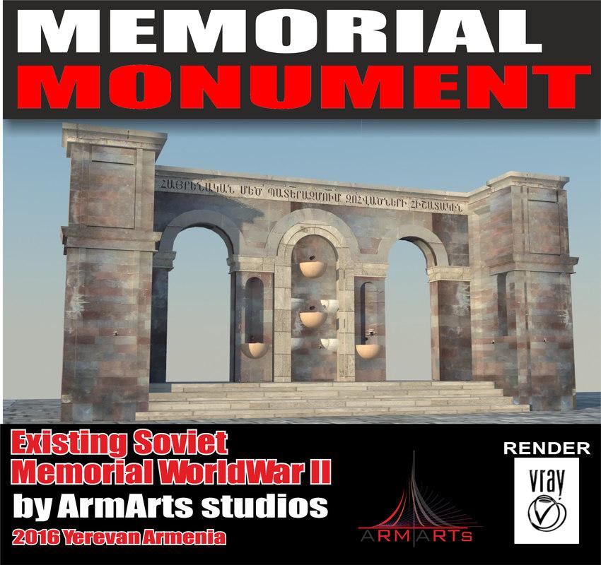 memorial world war 3d max