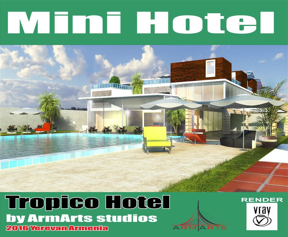 mini hotel modern house 3d model
