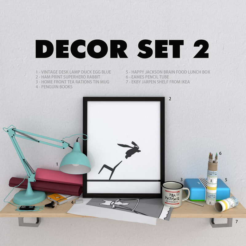 3d decorative set rabbit model