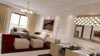 3d model apartment dining living bedroom