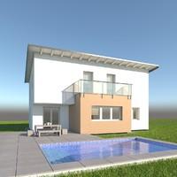3d modern single family model