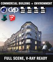 commercial building exterior scene obj
