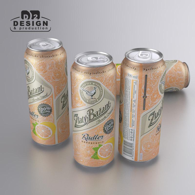 3d model beer zlaty bazant radler
