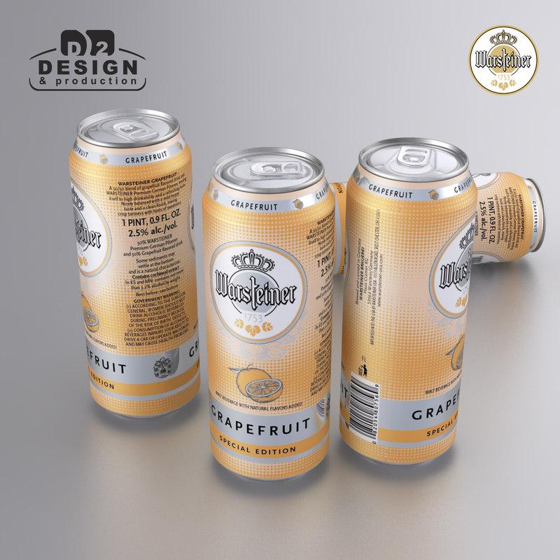 3d model beer warsteiner grapefruit