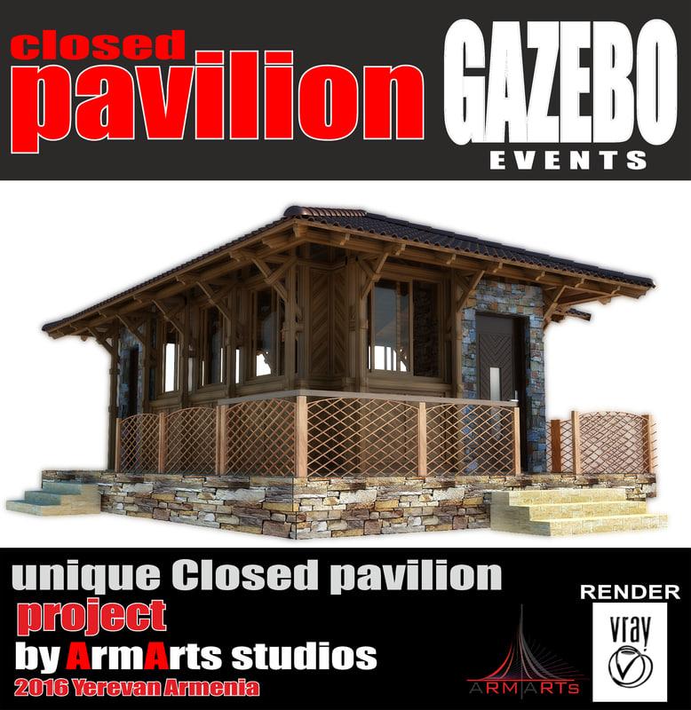 3d pavilion woodern model