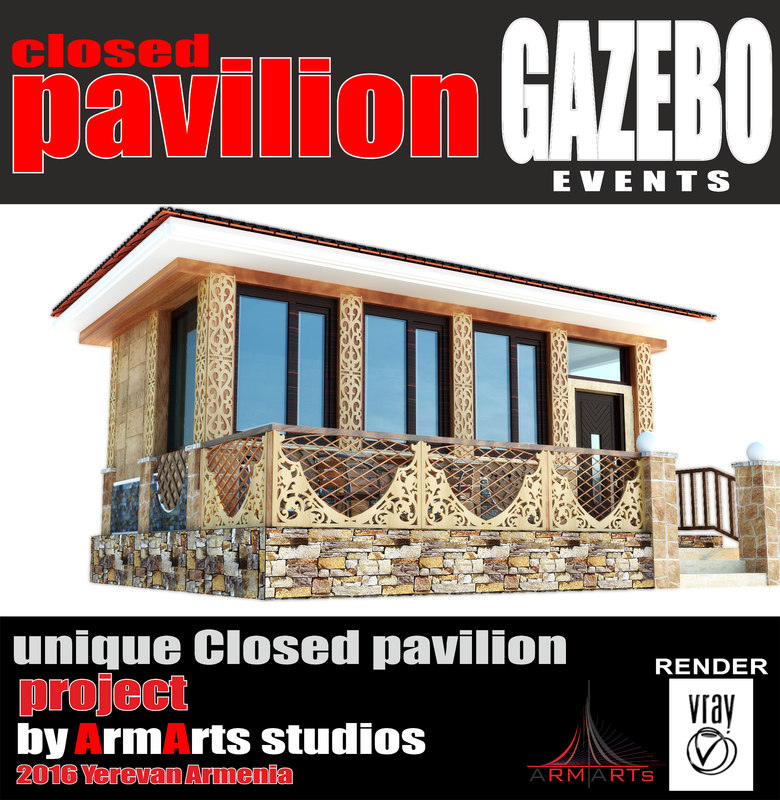 3d model pavilion gazebo woodern
