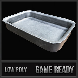 3d old industrial steel tray