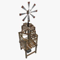 3d model built improvised windmill