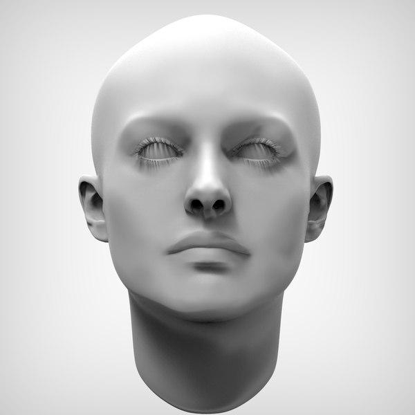 beauty female head obj