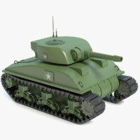 cartoon sherman tank 3d max