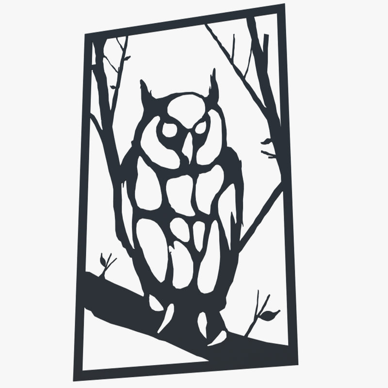 3d model metal wall art owl