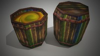 Colorful Barrels Low Polygon
