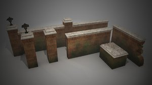 3d model brick wall kit