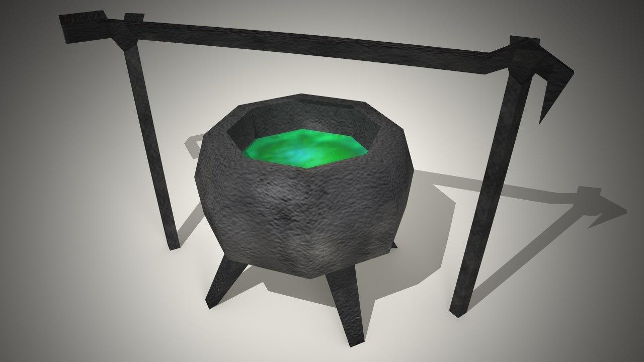 free obj model witch cauldron