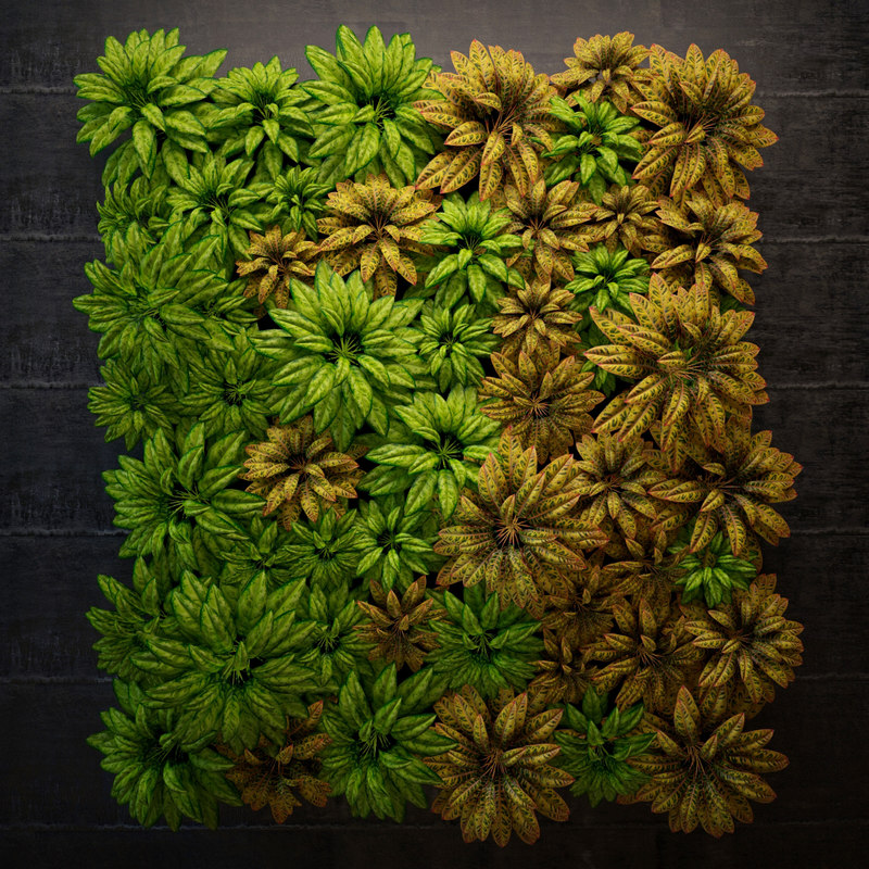 3d model of green wall