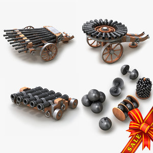 cannons medieval projectiles 3d max