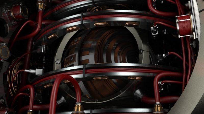 beating robotic heart spaceship engine 3d model