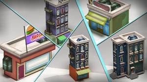 3d model urban building market beer