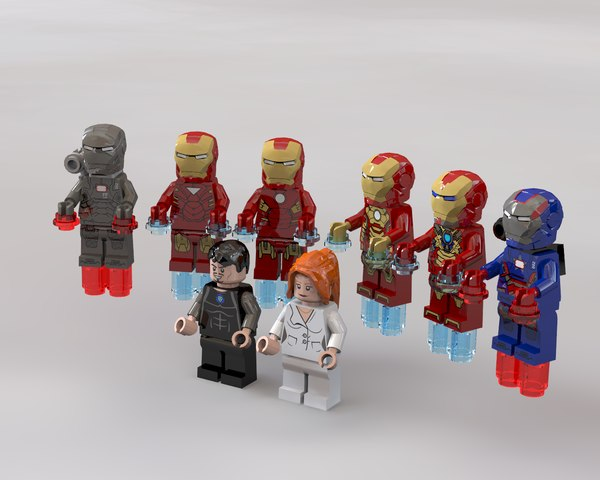 lego marvel iron man 3d obj
