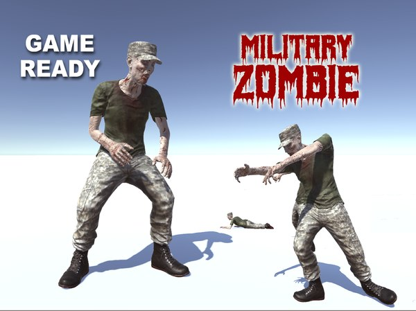 3d model of zombie military