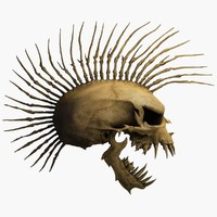 skull mohawk 3d c4d