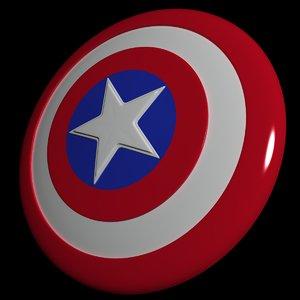 3d captain america shield model