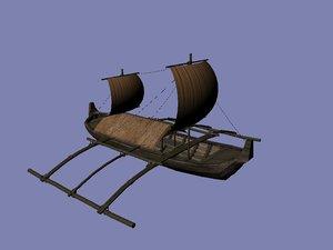 3d wooden sailboat model