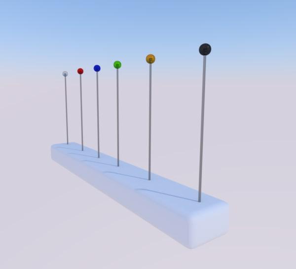 3d pin needles model