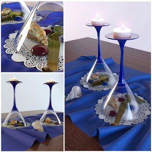 3d model decor glasses candles