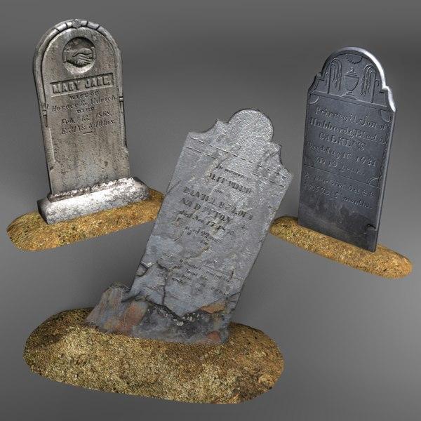 gravestones cemetery obj