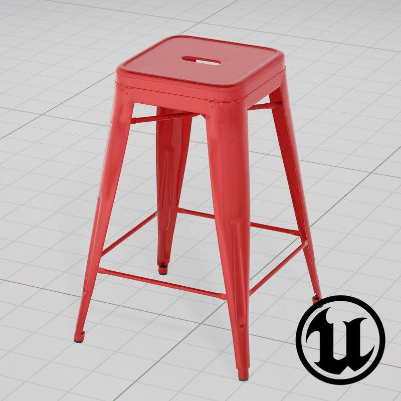 3d model unreal tolix bar stool