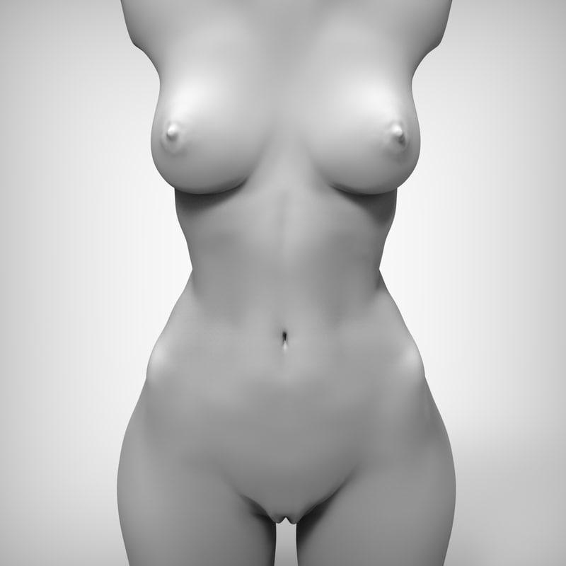 3d model beauty woman torso