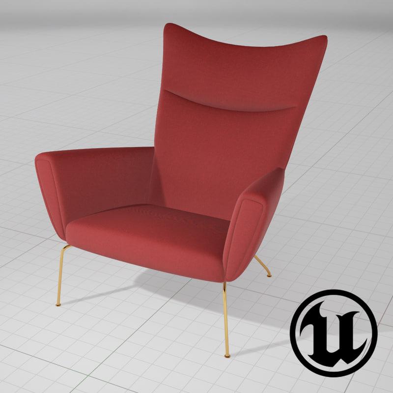 3d unreal wegner wing chair model