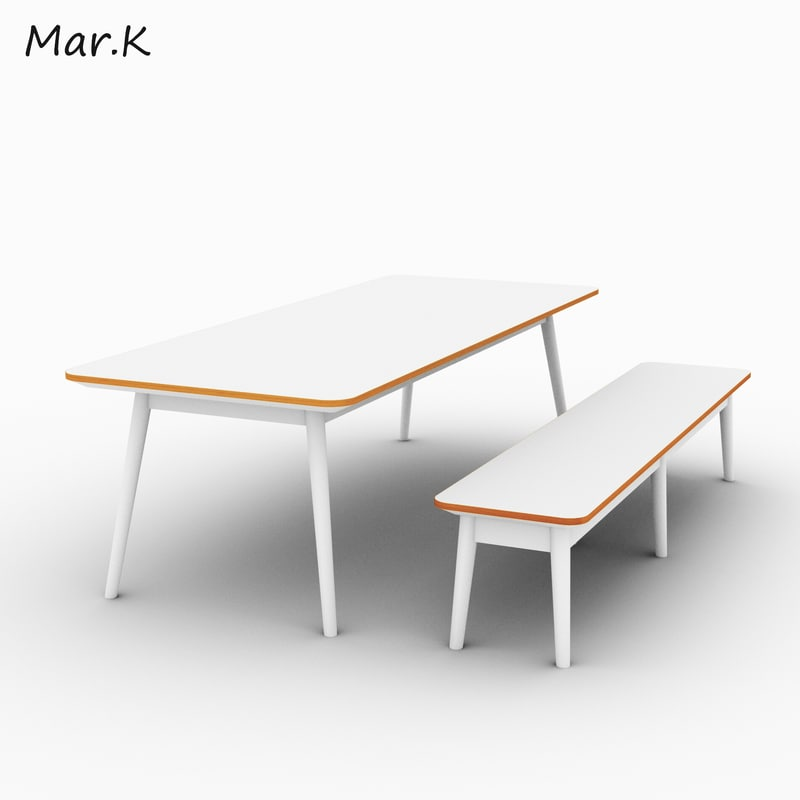 table bench 3d 3ds
